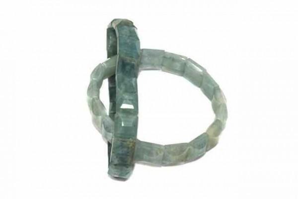 Armband, facettiert, 10x10mm, Aquamarin