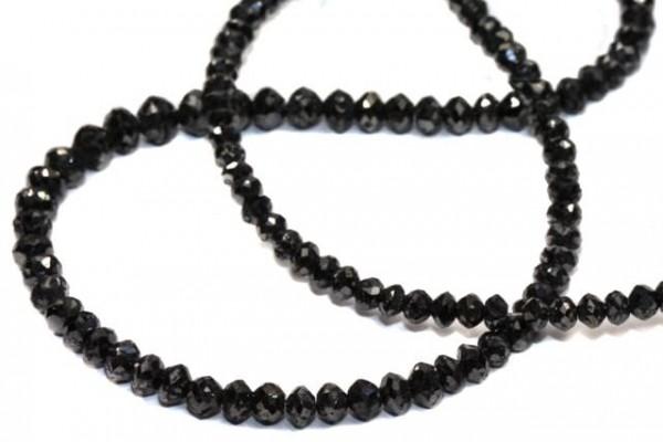 Rondellenstrang facettiert 2,2-2,5mm/42cm, schwarzer Diamant A