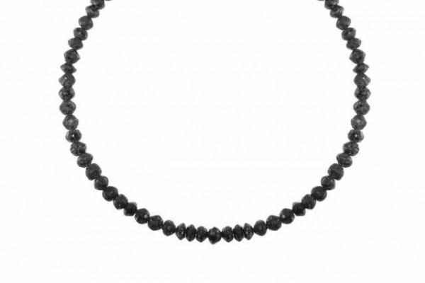 Rondellenstrang facettiert 3,4-4,2mm/43cm, schwarzer Diamant