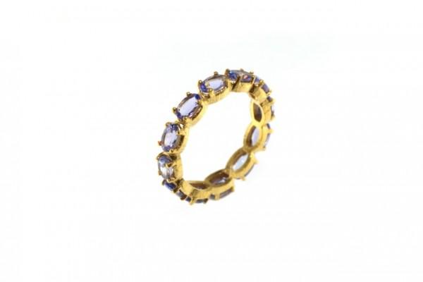 Ring Größe 56, 18K Gelbgold mit 14 facettierten ovalen Tansaniten
