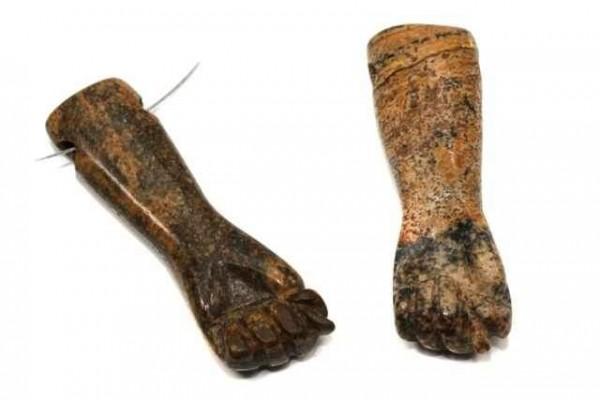 Hand mit Bohrung, 36x12mm, Landschafts-Jaspis