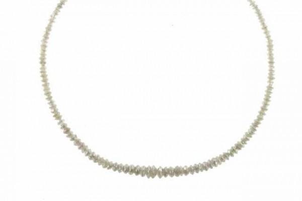 Linsenstrang facettiert 1,3-4,2mm/35cm, Diamant silbergrau