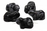 Frosch mit Bohrung, ca. 10x15mm, Schneeflocken-Obsidian