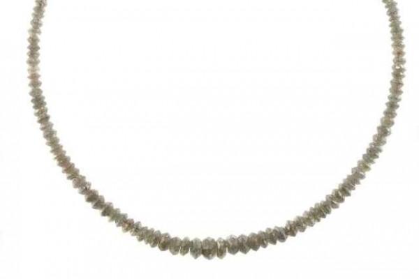 Linsenstrang facettiert 1,3-4,4mm/41cm, Diamant silbergrau