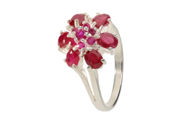 Ring Größe 52 aus Sterlingsilber 925, Blüte aus rotem Rubin