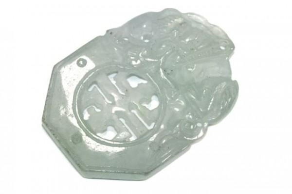 Münzen-Amulett mit Bohrung, 32-40mm, Jade Burma