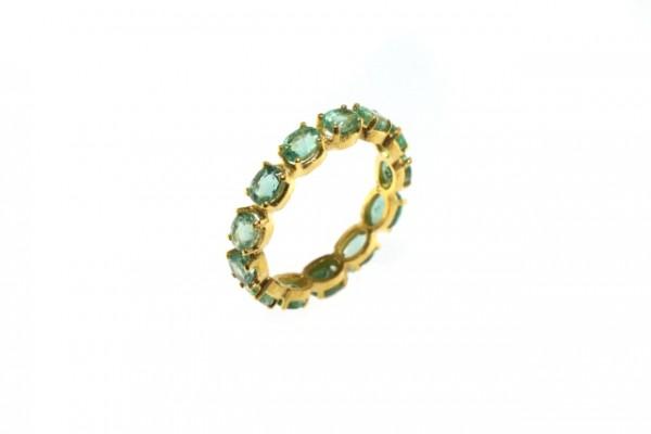 Ring Größe 55, 18K Gelbgold mit 13 facettierten grünen Saphir-Ovalen