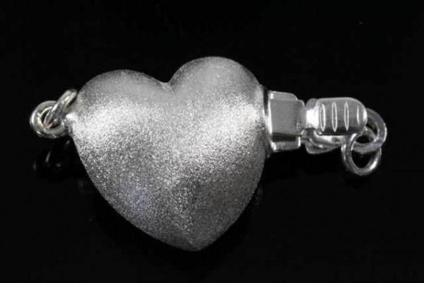 Herz-Schließe 13mm, AG 925 matt