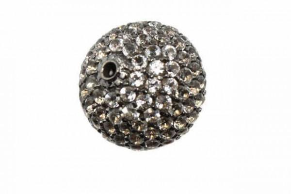 16,5mm Kugel facettierte weiße Topase auf AG 925 schwarze rhodiniert