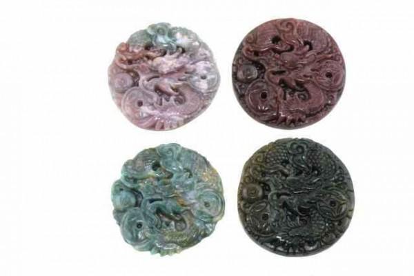 Drachen-Amulett mit 1mm Bohrung, 50mm, Achat