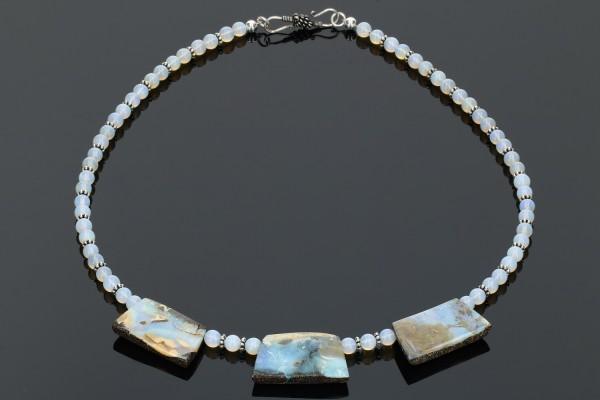 Opal Collier 8-18mm/52cm Kugeln und Trapeze mit Zwischenteilen aus Silber 925