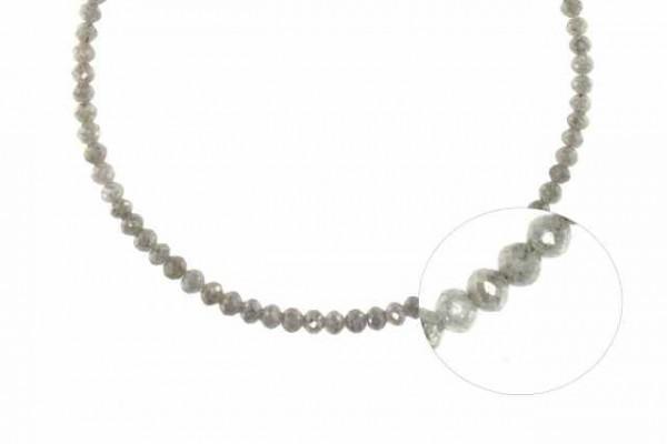 Buttonstrang facettiert 2,4-3,6mm/42cm, Diamant silber-grau