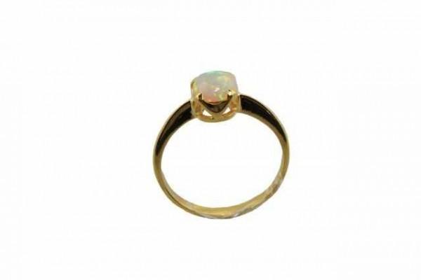 Ring Größe 57, 18K Gelbgold, Opal (Äthiopien)