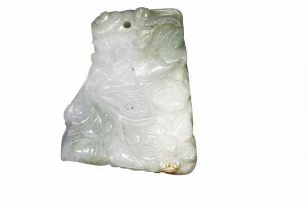 Amulett Tiger+Hase 42x52mm, Jade Burma A