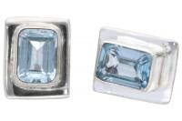 "Ohrstecker hat"" Square facettiert 8x11mm in Silber 925, Topas Sierra Sky Blue SONDERPOSTEN"""