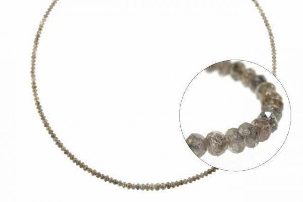 Rondellenstrang facettiert 2,2-3,5mm/40cm, Diamant braun natur