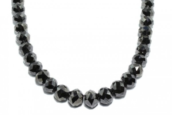 Rondellenstrang facettiert 7,2-9,5mm/42cm, schwarzer Diamant A