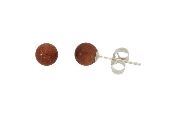 1 Paar Schaumkoralle Ohrstecker ca 6 mm in 925 Silber