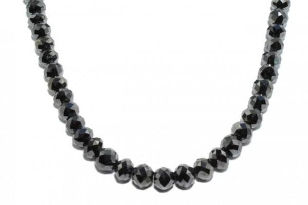 Rondellenstrang facettiert 6,6-7,6mm/42cm, schwarzer Diamant A