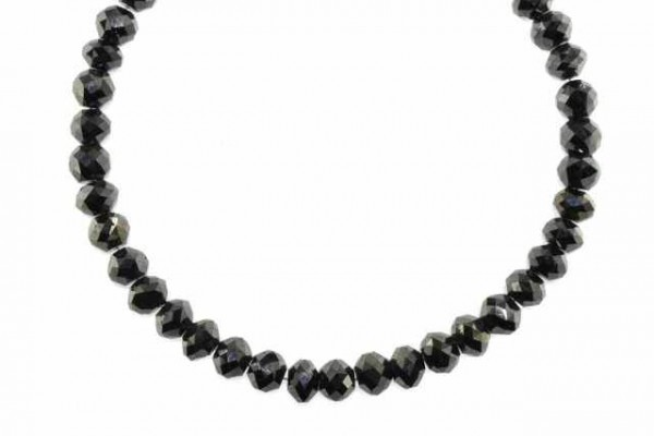Rondellenstrang facettiert 6,5mm/21cm, schwarzer Diamant A