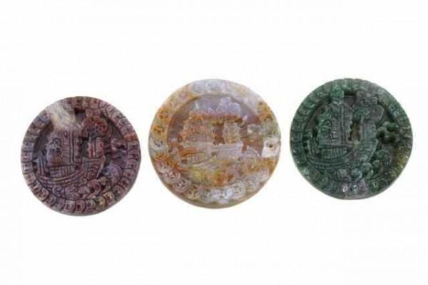 Dschunken-Amulett mit 1mm Bohrung, 45mm, Achat