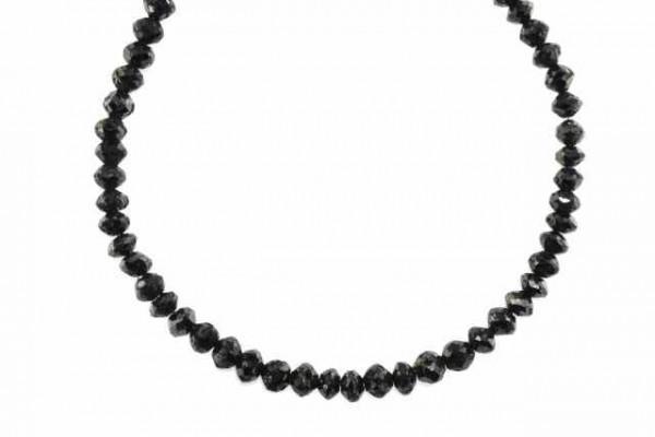 Rondellenstrang facettiert 4,5-5,6mm/43cm, schwarzer Diamant