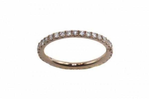 Ring Größe 53, 18k Roségold, 37 Brillanten 0,75ct TW-vsi, Diamant