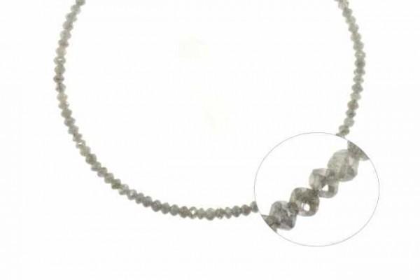 Buttonstrang facettiert 2,6-3mm/42cm , Diamant silber-grau
