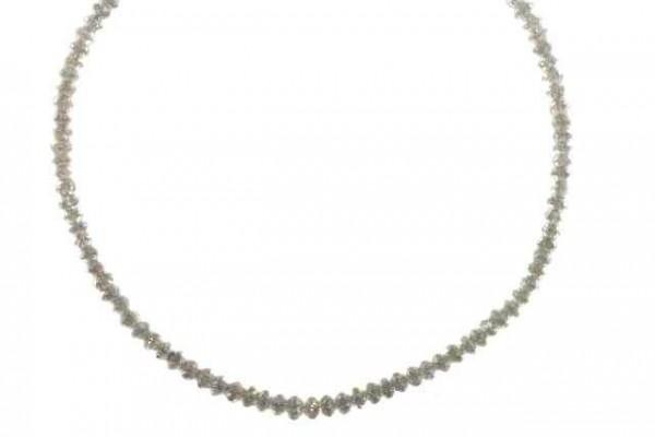 Buttonstrang facettiert 2-3,2mm/41, Diamant weiß