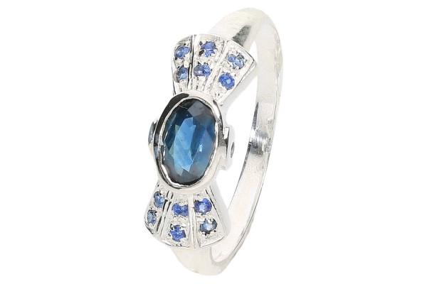 Ring Größe 51 Sterlingsilber 925, Fliege, blauer Saphir