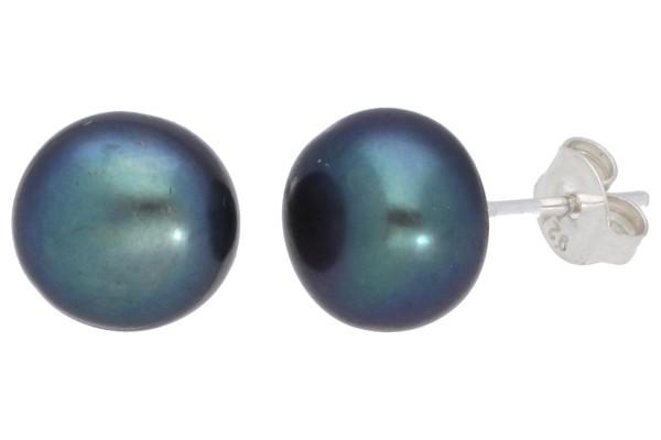 auf Silber 925 Ohrstecker 9mm-Button schwarze Süßwasserperle behandelt