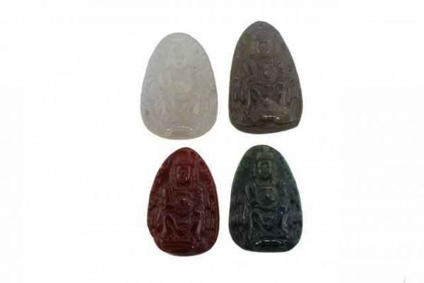 Lü Dongbin-Amulett mit 1mm Bohrung, 26x40mm, Achat
