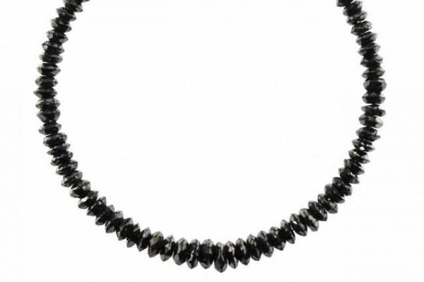 Linsenstrang facettiert 4,5-6,9mm/41cm, schwarzer Diamant A