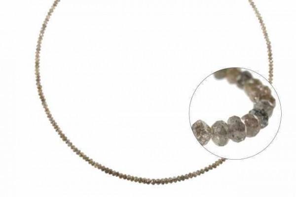 Rondellenstrang facettiert 1,9-3,7mm/40cm, Diamant braun natur