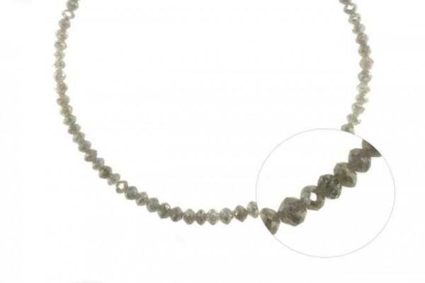 Buttonstrang facettiert 2,7-4,4mm/42cm , Diamant silber-grau