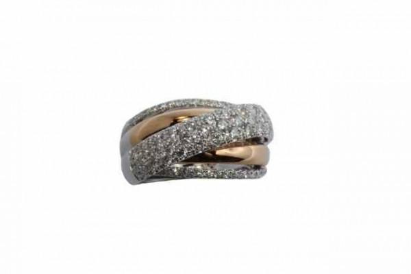 Ring Größe 57 in 18K Rot- und Weißgold, 103 Brillanten 1,75ct TW-vsi