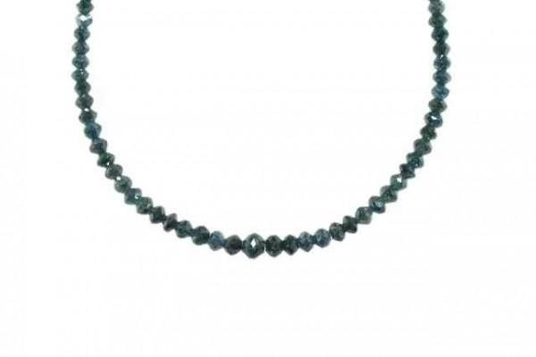 Buttonstrang facettiert 3-5mm/42cm, Diamant blau/grün behandelt