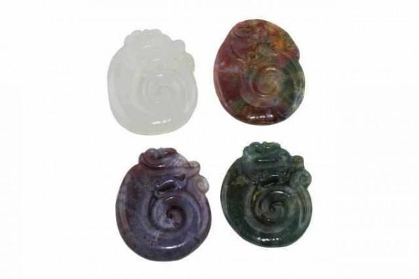 Drachen-Amulett mit 1mm Bohrung, 35x50mm, Achat