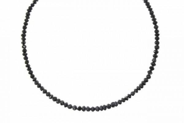 Rondellenstrang facettiert 2-3,9mm/40cm, schwarzer Diamant