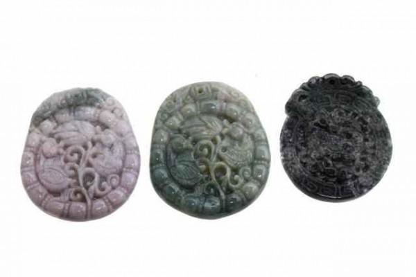 Enten-Amulett mit 1mm Bohrung, 43x50mm, Achat