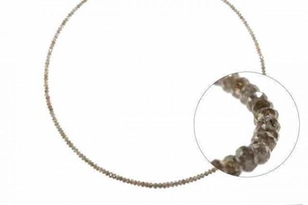 Rondellenstrang facettiert 1,7-3,3mm/40cm, Diamant braun natur