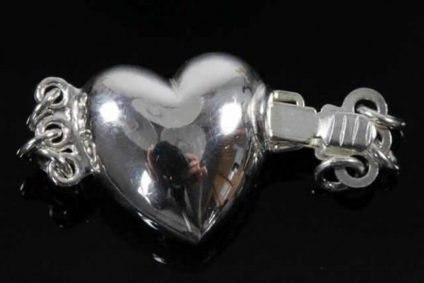 Herz-Schließe 13mm 3-reihig, AG 925 poliert