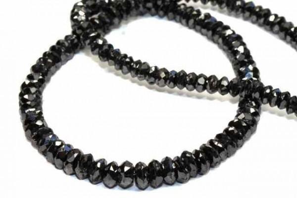 Linsenstrang facettiert 2,4-2,6mm/42, schwarzer Diamant A