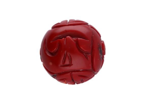 Dragon-Ball Anhänger 30mm mit Bohrung aus rot gefärbter Koralle