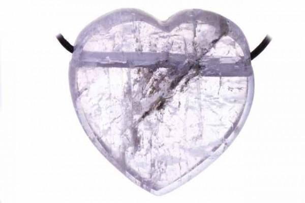 Herz mit 2,5mm Querbohrung, 44mm, Kunzit AA