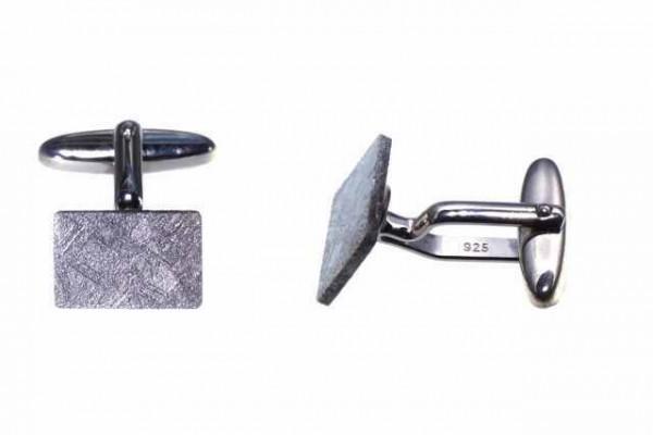 Manschettenknöpfe rechteckig 10x15mm, Eisenmeteorit (Muonionalusta)