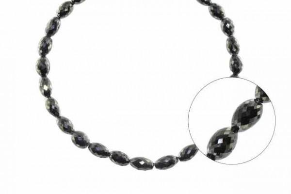 Olivenstrang facettiert 4,6x6,5-5x9mm/42cm, schwarzer Diamant AA