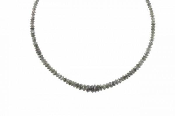 Linsenstrang facettiert 2-4,6mm/40cm, Diamant anthrazit