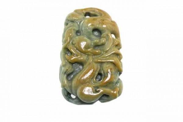 Drachen-Amulett 34x53mm,Jade Burma grün+gelb