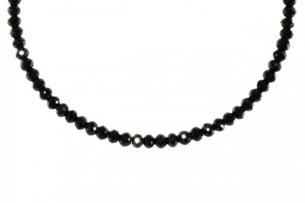 Rondellenstrang facettiert 3,5-4mm/42cm (41,48ct), Diamant schwarz behandelt